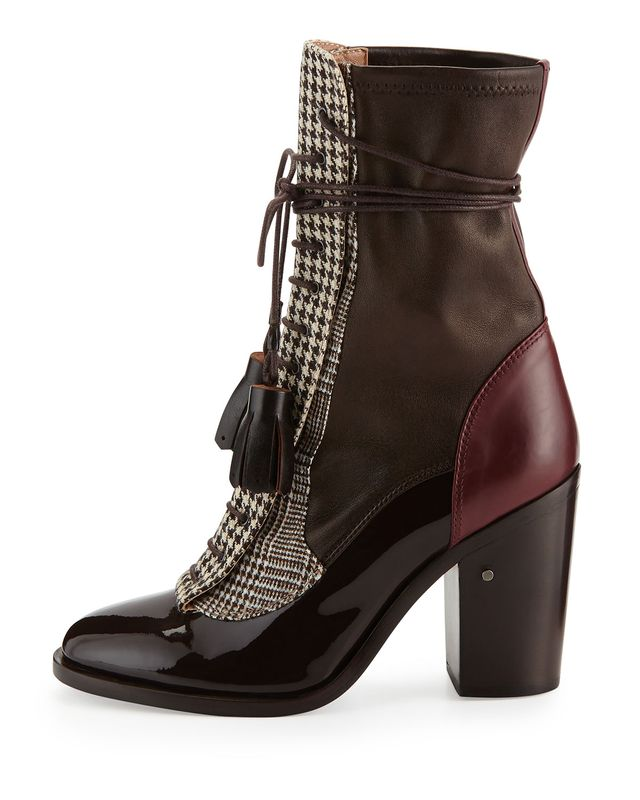 Laurence Dacade x Man Repeller Houndstooth Lace-Up Boot in Dark Brown