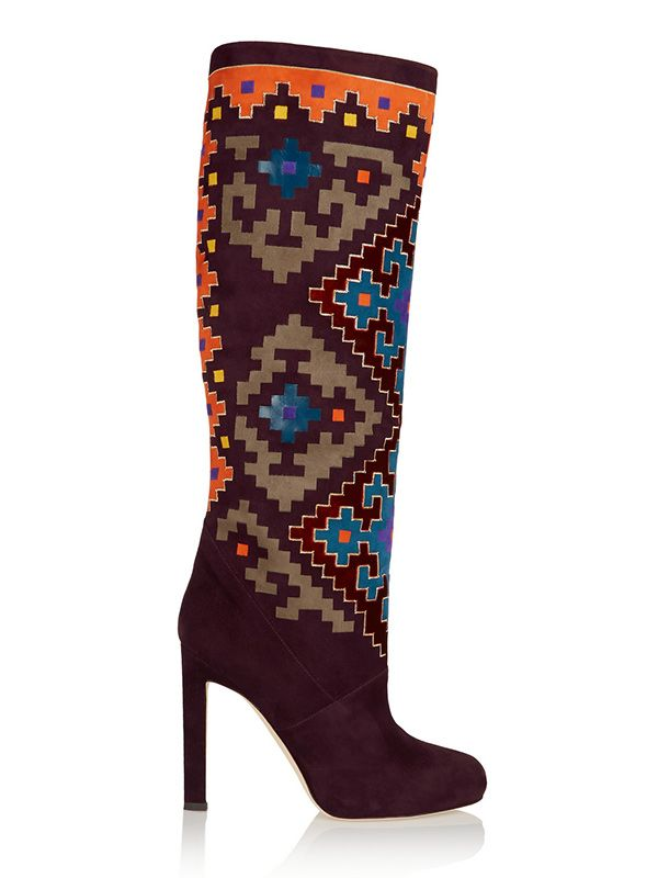 Brian Atwood Vicky Suede and Velvet Knee Boots
