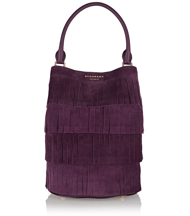 Burberry Prorsum Fringed Suede Bucket Tote