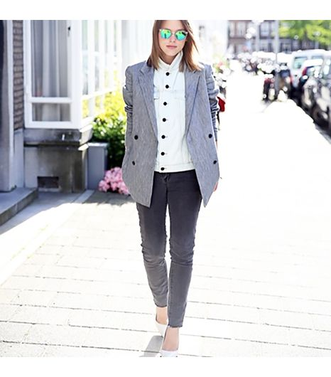 Afterdrk is wearing: Proenza Schouler vest, Alexander Wang blazer, Afterdrk jeans, Mango heels, Rag & Bone sunglasses.