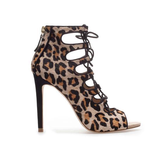 Zara Leopard Print Ankle Boot Sandal