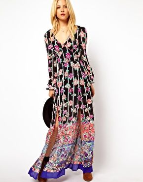 ASOS Maxi Dress With 70's Floral Border And Cut Out Back
