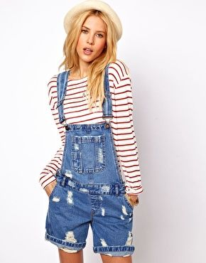 ASOS Short Denim Overalls in Ripped Vintage Wash