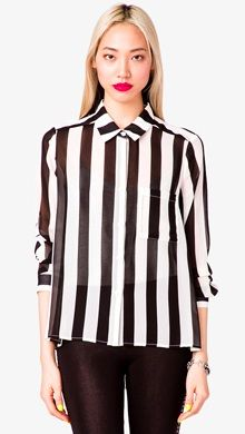 Forever 21 Striped Georgette Shirt