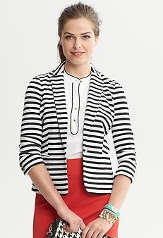 Banana Republic Striped Ponte Blazer