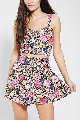 Urban Outfitters  Reverse Floral Two-Piece Skirt Set
