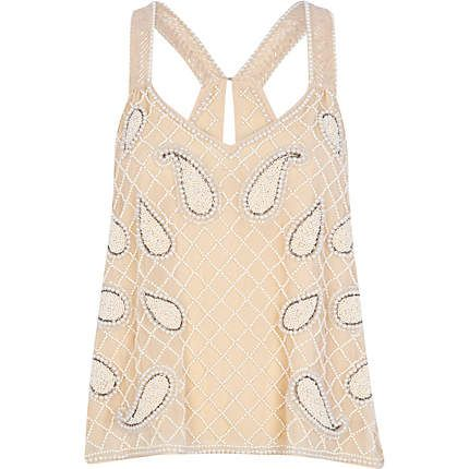 River Island  Bead Embellished Cross Back Top