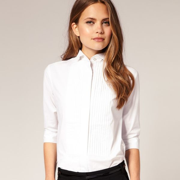 ASOS Shirt With Wing Tip Collar And Pintuck Bib