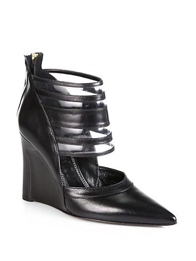 Derek Lam Meryl Leather Wedge Ankle Boots