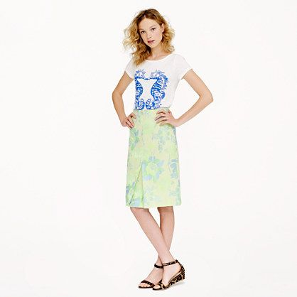 J.Crew Collection Neon Floral Jacquard Skirt