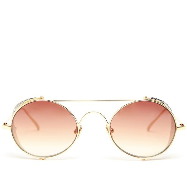 Linda Farrow Luxe Gold Rimmed Blinker Sunglasses