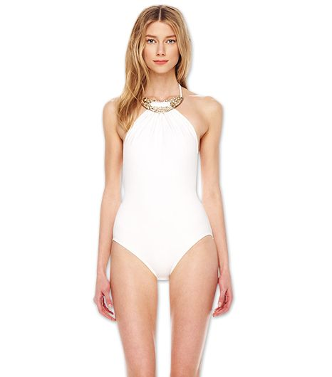 When you want to feel like a beach goddess, slip into Michael Kors' Romanesque Metal Top Maillot Swimsuit ($402) (note the built-in necklace!).
