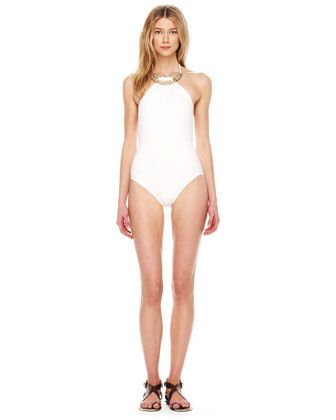 Michael Kors Romanesque Metal Top Maillot Swimsuit