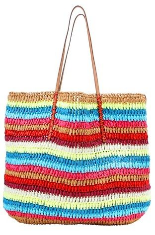 LOFT  Multicolored Stripe Straw Beach Tote