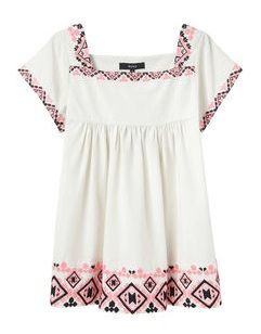 Suno  Embroidered Baby Doll Top