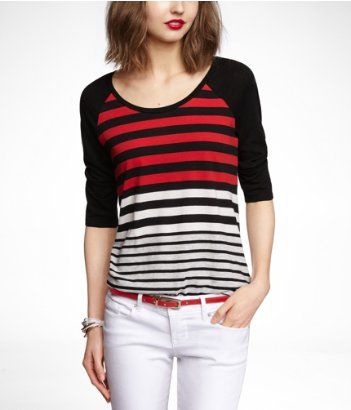 Express  Mixed Stripe Baseball Tee