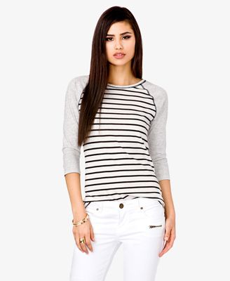 Forever 21  Contrast Striped Baseball Tee