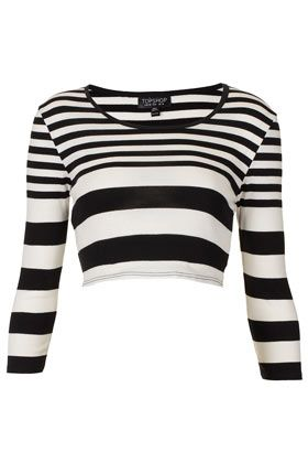 Topshop  Varigated Long Sleeve Crop Top