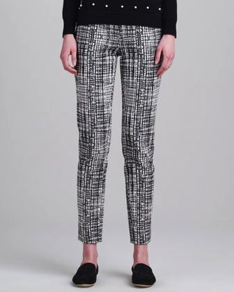 Lela Rose  Woodcut-Print Jacquard Pants
