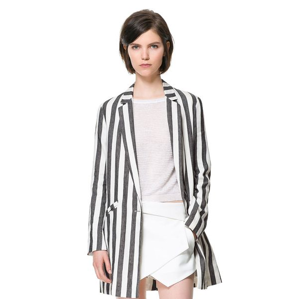 Zara  Linen Frock Coat With Printed Stripes