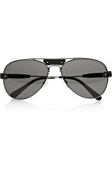 Chloe  Aviator-Style Leather-Trimmed Metal and Acetate Sunglasses