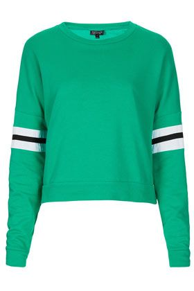 Topshop Stripe Sleeve Sweatshirt