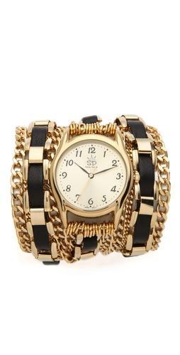 Sara Designs Woven Chain Wrap Watch