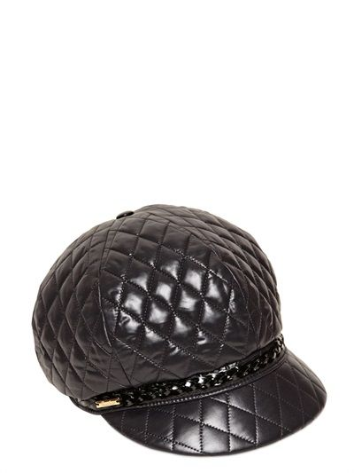 Borsalino Baseball Quilted Faux Leather Hat