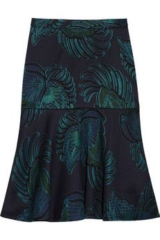 Stella McCartney  Fluted Wool-Blend Jacquard Skirt