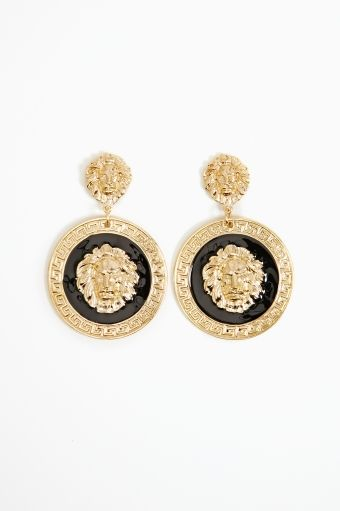 Nasty Gal Lion Medallion Earrings