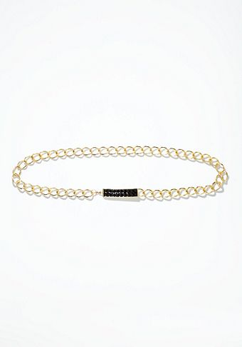 Bebe Chain & Stud Jewel Buckle Belt