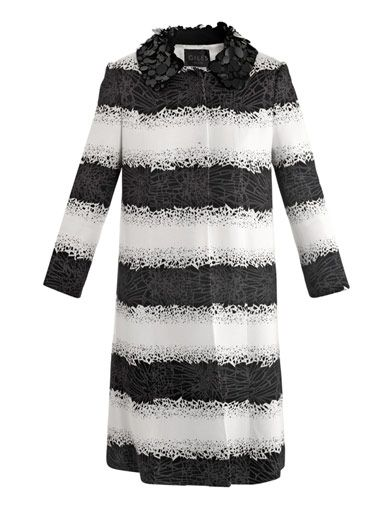 Giles  Embellished Collar Broken-Jewelery Print Coat