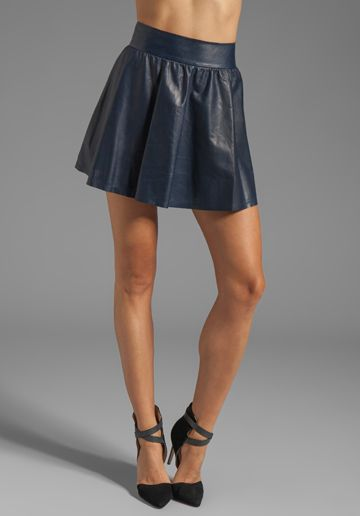 Alice + Olivia  Luann Leather Flared Skirt