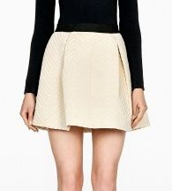 DKNY   Chevron Quilted Pull on Pleated Skirt