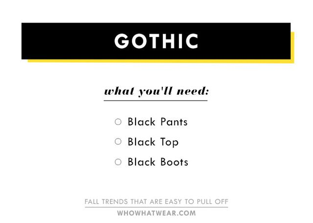 What do you need to get that gothic-feeling look we saw all over the runways, from Givenchy to Alexander Wang? Go for all black. We love the idea of choosing pieces with a romantic Victorian feel...