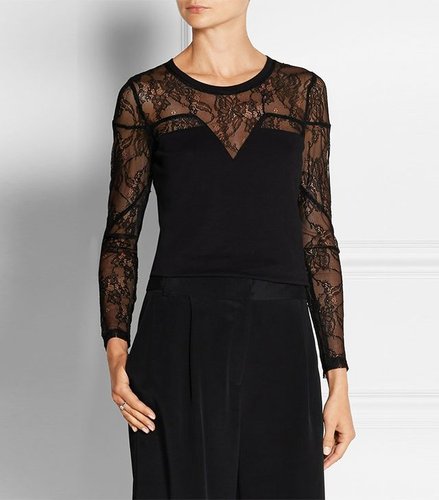 Maje Tadeus Lace and Cotton-Jersey Top