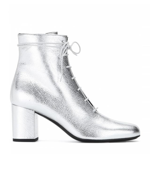 Saint Laurent Metallic Leather Ankle Boots