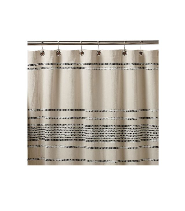 Coyuchi Ivory/Black Rippled Stripe Shower Curtain