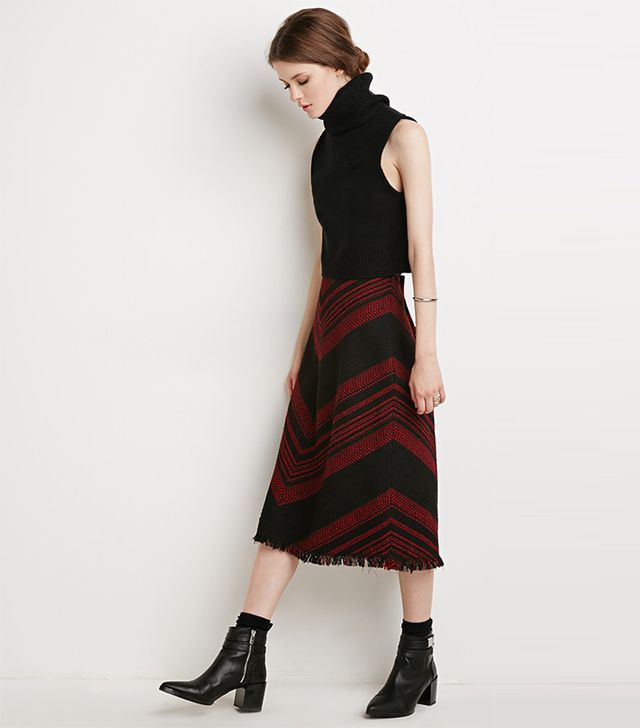 Forever 21 Frayed Chevron-Patterned Skirt
