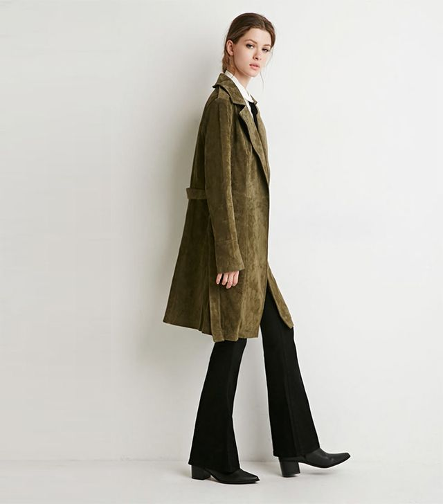 Forever 21 Genuine Suede Belted Trench