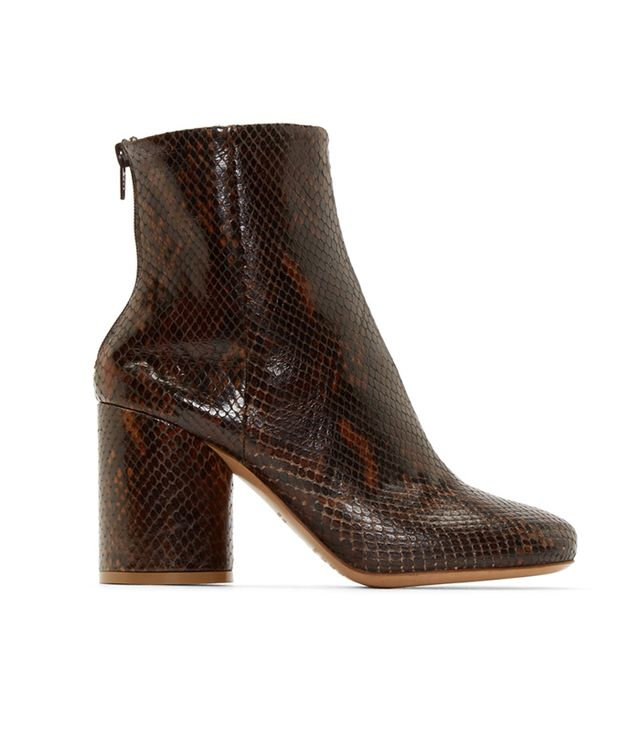 Maison Margiela Brown Snakeskin Ankle Boots