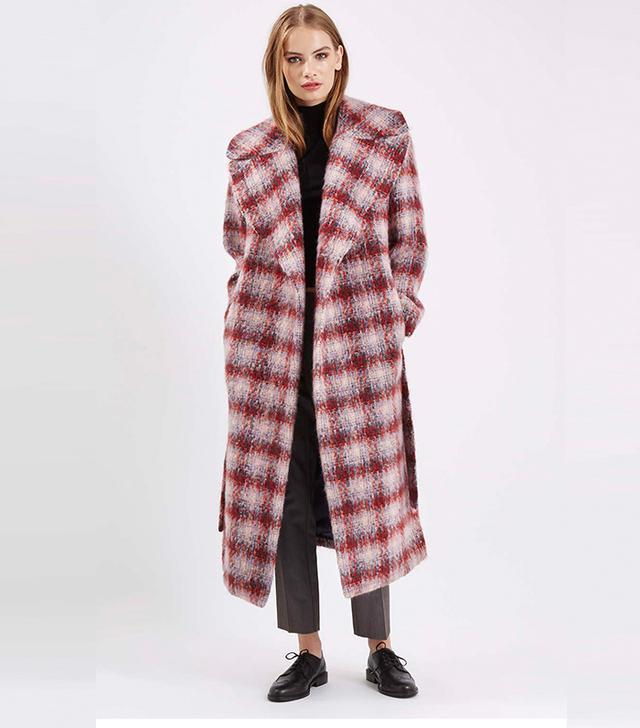 Topshop Premium Brush Check Belted Coat