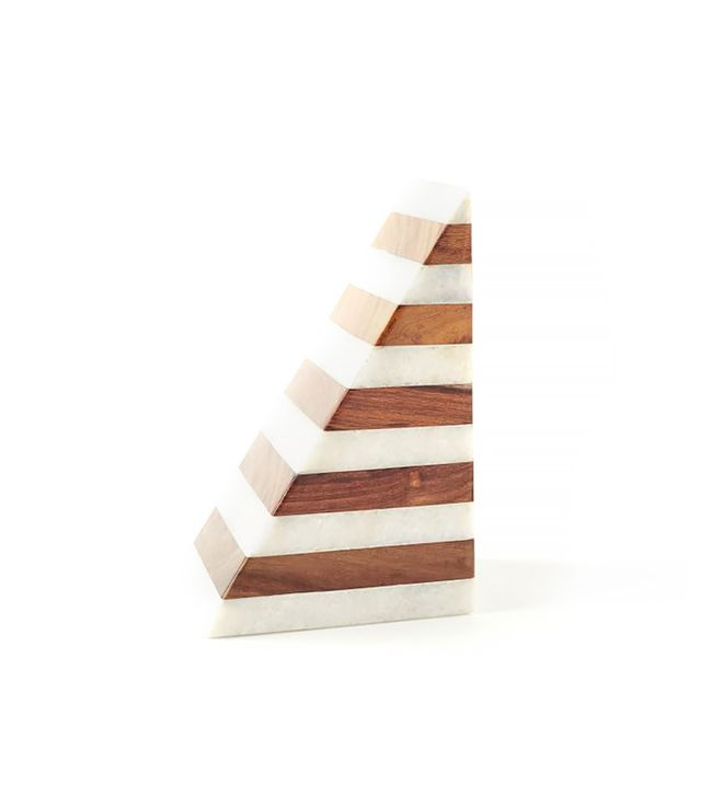 West Elm Striped Marble and Wood Bookend