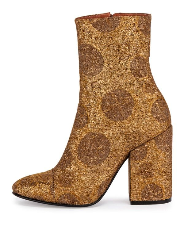 Dries van Noten Brocade Ankle Bootie in Bronze