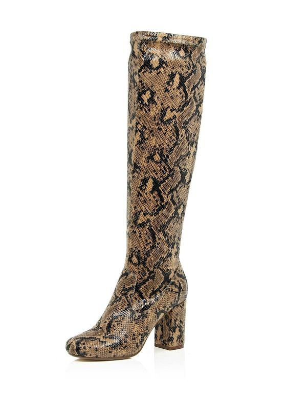 River Island Beige Snake Print Heeled Knee High Boots
