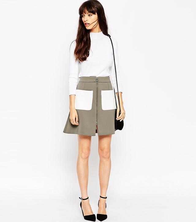 ASOS Bonded A-Line Skirt