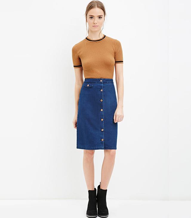 Forever 21 Denim A-Line Skirt