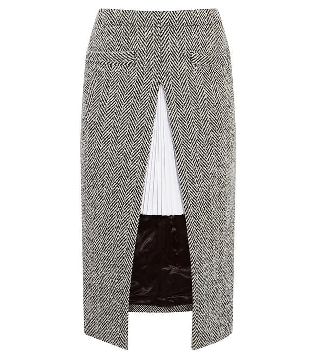 Sacai Twill-Paneled Herringbone Wool-Blend Skirt