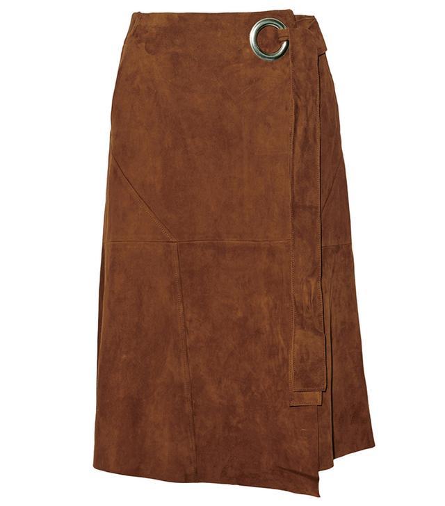 Tibi Suede Wrap Skirt