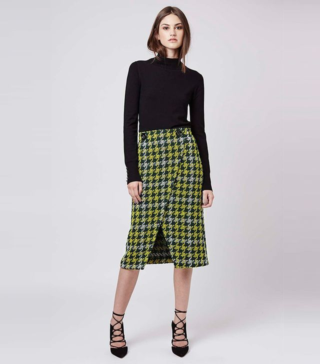 Topshop Premium Wrap Front Midi Skirt